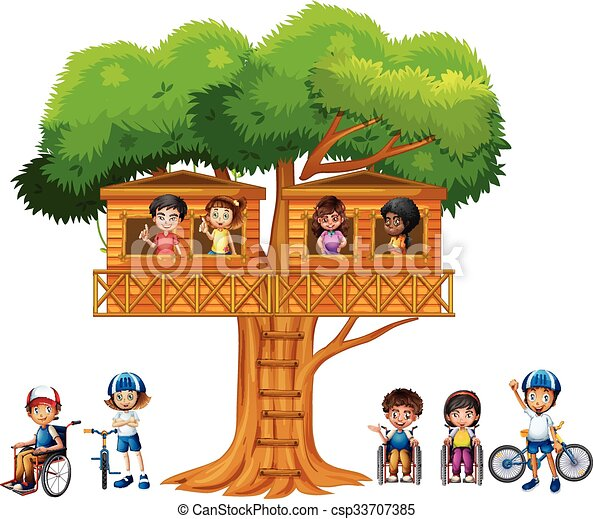 Children playing at the treehouse - csp33707385