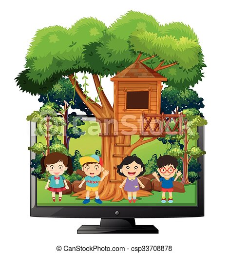 Children playing at the treehouse - csp33708878