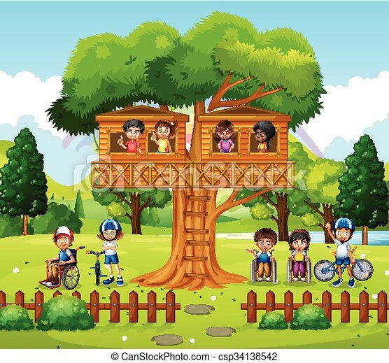 Children playing at the treehouse in the park - csp34138542