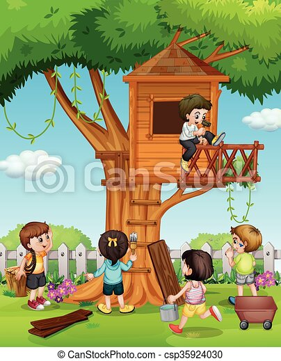 Children playing at the treehouse in the garden - csp35924030