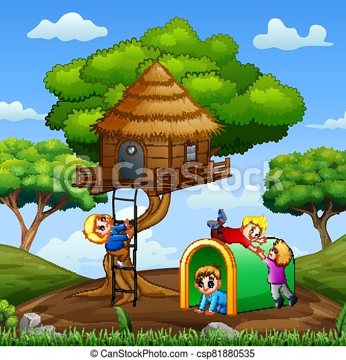 Children playing at the treehouse in the park illustration - csp81880535