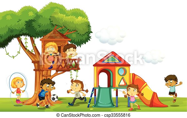 Children playing at the treehouse in the park - csp33555816