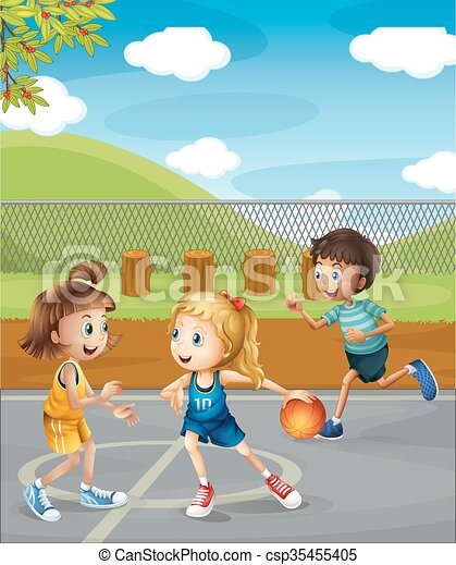 Children playing basketball at the court illustration.