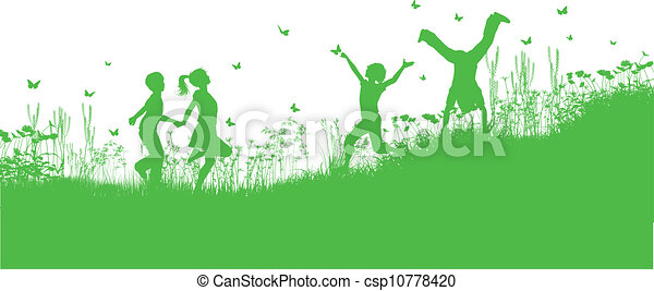 Children playing in grass and flowers - csp10778420