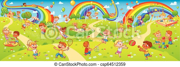 Children playing in playground. Seamless children's panorama for your design - csp64512359
