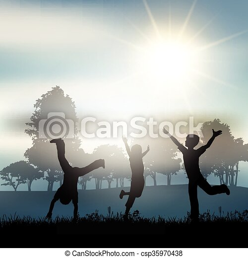 Children playing in the countryside - csp35970438