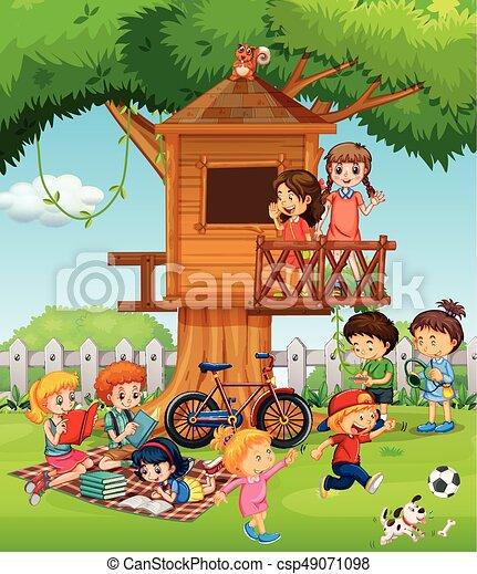 Children playing in the garden - csp49071098