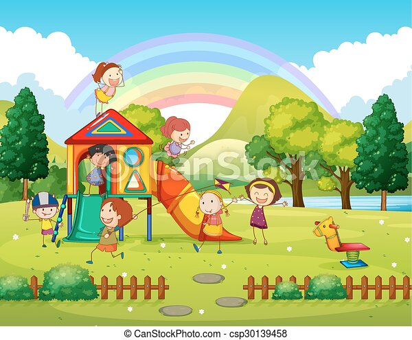 Children playing in the park at daytime - csp30139458