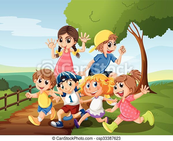 Children playing in the park at daytime - csp33387623