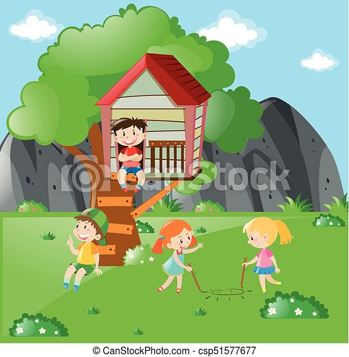 Children playing in the park at daytime - csp51577677