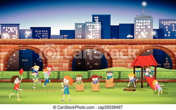 Children playing in the park at night - csp35038497