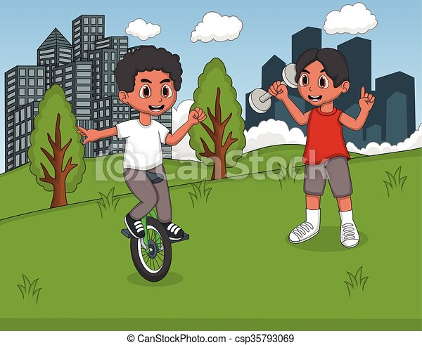 Children playing in the park - csp35793069