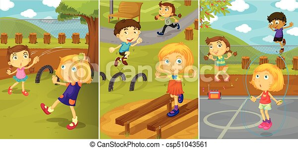 Children playing in the park - csp51043561