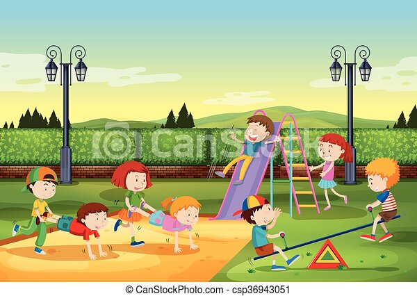 Children playing in the park - csp36943051