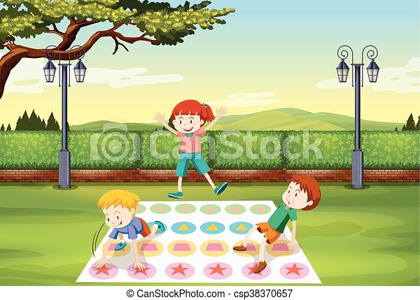 Children playing in the park - csp38370657