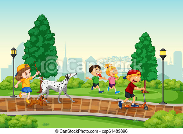 Children playing in the park - csp61483896