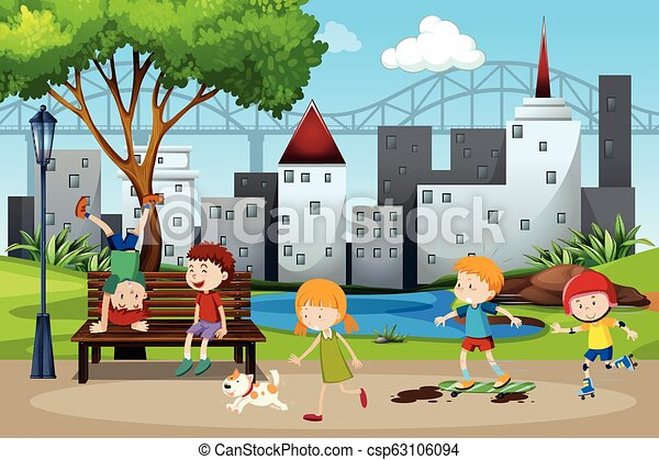Children playing in the park - csp63106094
