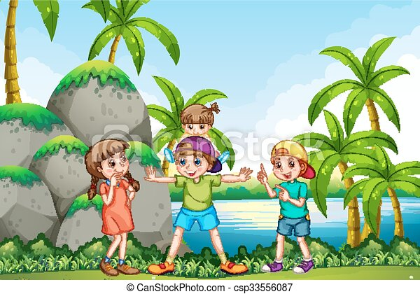 Children playing in the park - csp33556087