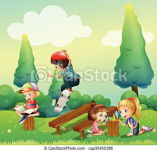 Children playing in the park - csp35455386