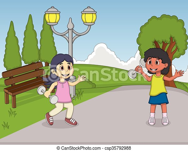 Children playing in the park - csp35792988