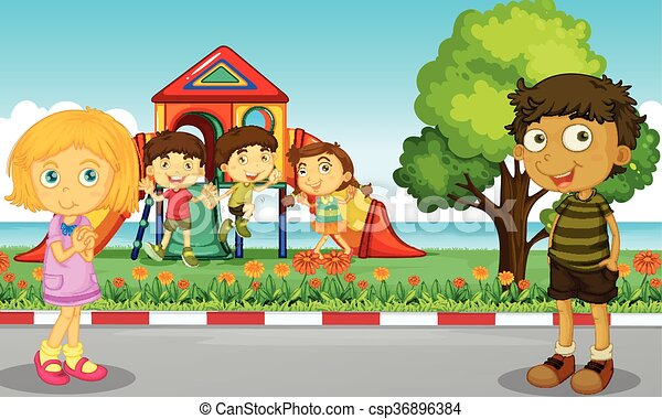 Children playing in the park - csp36896384