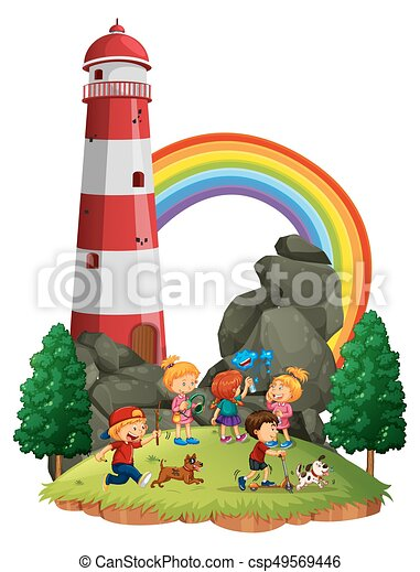 Children playing in the park - csp49569446