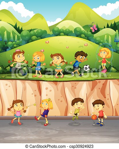 Children playing in the park - csp30924923