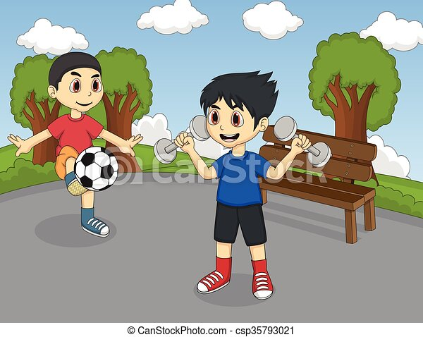 Children playing in the park - csp35793021