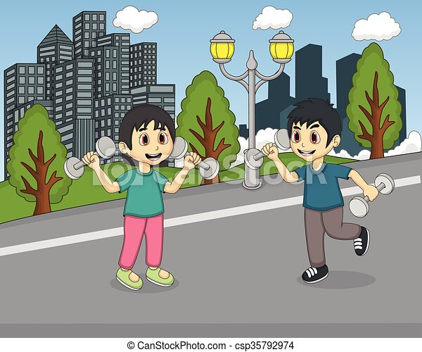 Children playing in the park - csp35792974