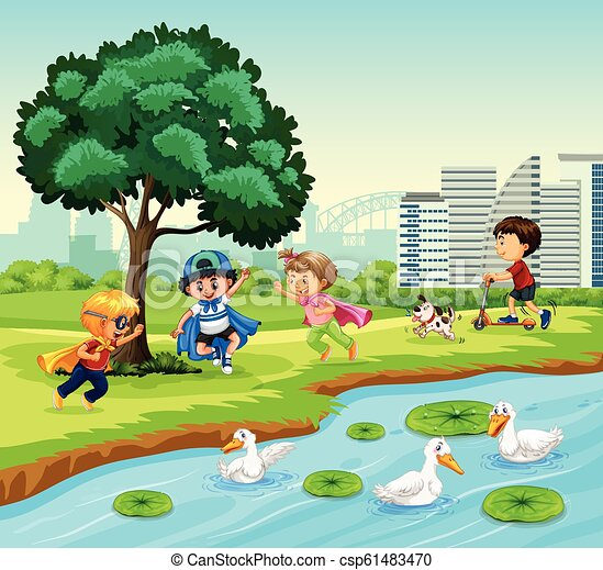 Children playing in the park - csp61483470