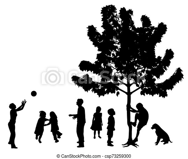Children playing in the park outdoors - csp73259300