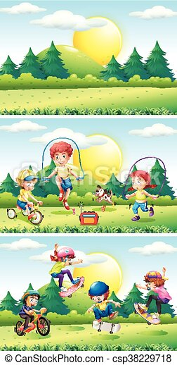 Children playing in the park - csp38229718