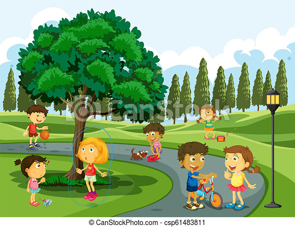 Children playing in the park - csp61483811