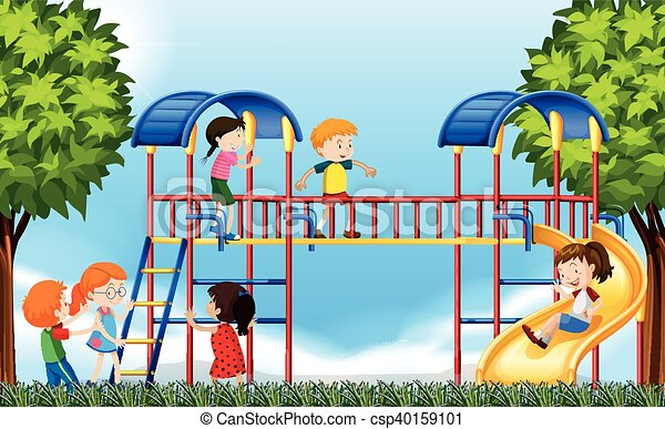 Children playing in the garden vector image on VectorStock   Kids playing,  Happy kids, Kids play area