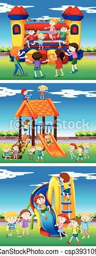 Children playing in the playground - csp39310969