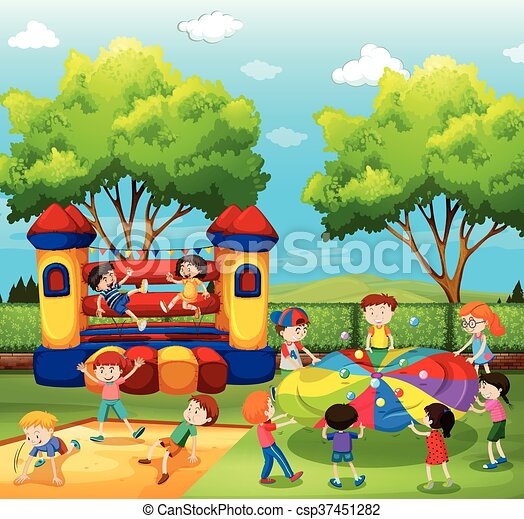 Children playing in the playground - csp37451282