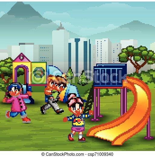 Children playing in the playground - csp71009340