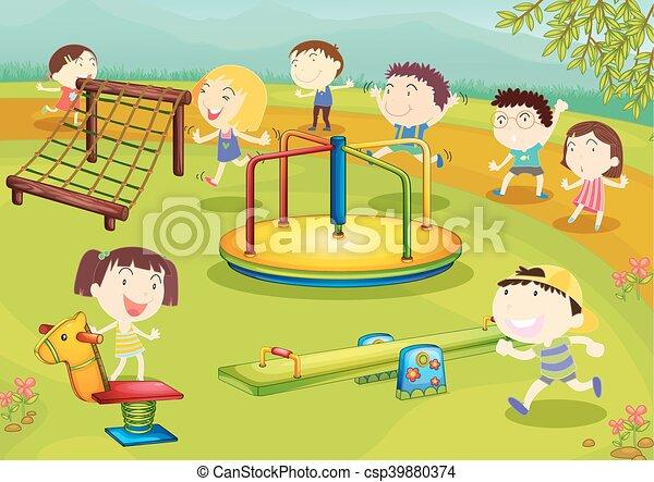 Children playing in the playground - csp39880374
