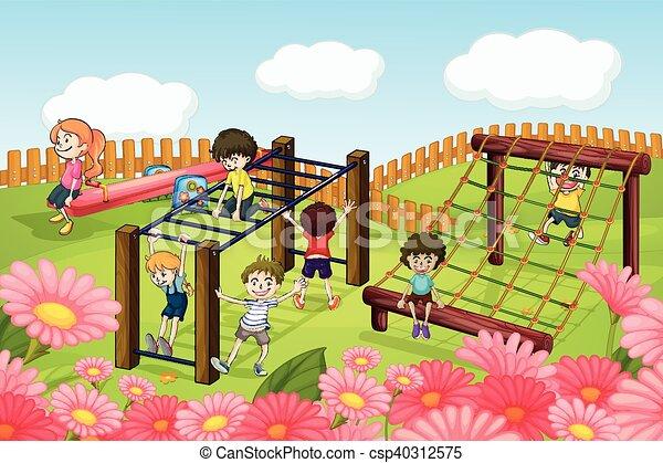 Children playing in the playground - csp40312575