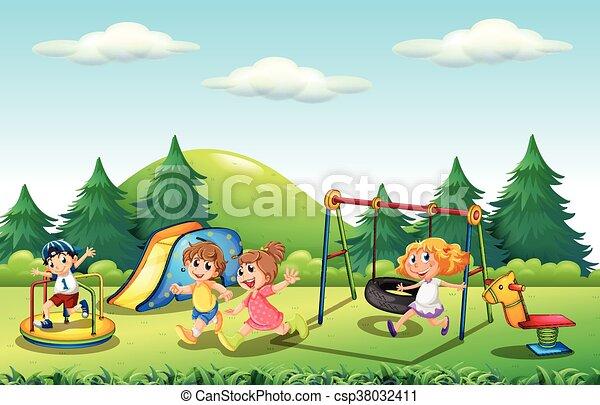 Children playing in the playground - csp38032411