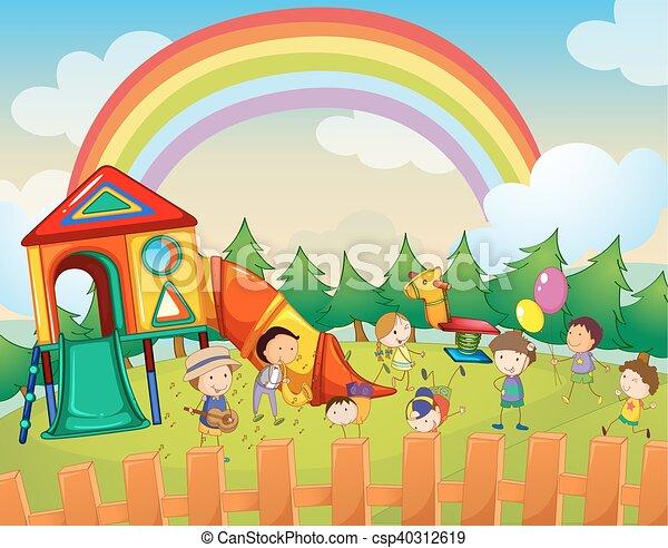 Children playing in the playground - csp40312619