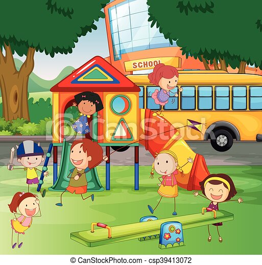 children playing in the school playground vector - Images Of Children Playing At School
