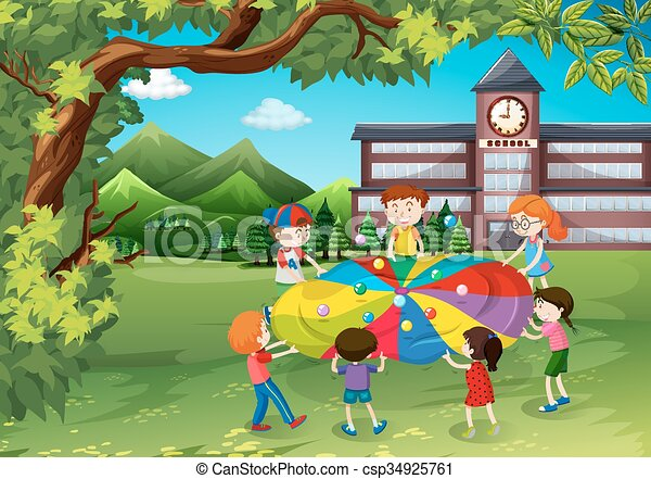 children playing in the school yard vector - Images Of Children Playing At School