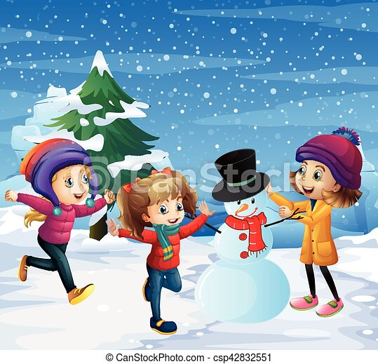 Children playing in the snow - csp42832551