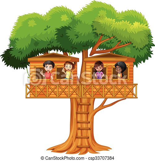 Children playing in the treehouse - csp33707384