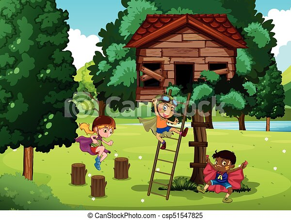 Children playing in the treehouse - csp51547825