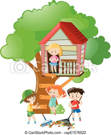children playing in the treehouse illustration vector illustration rh canstockphoto com tree house clipart tree house clipart images