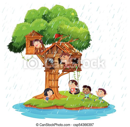 Children playing in the treehouse on island - csp54366397