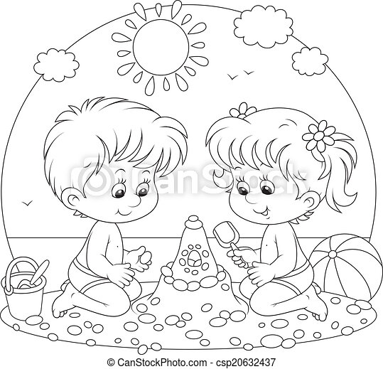 Children Playing On A Beach Little Girl And Boy Building A Sand