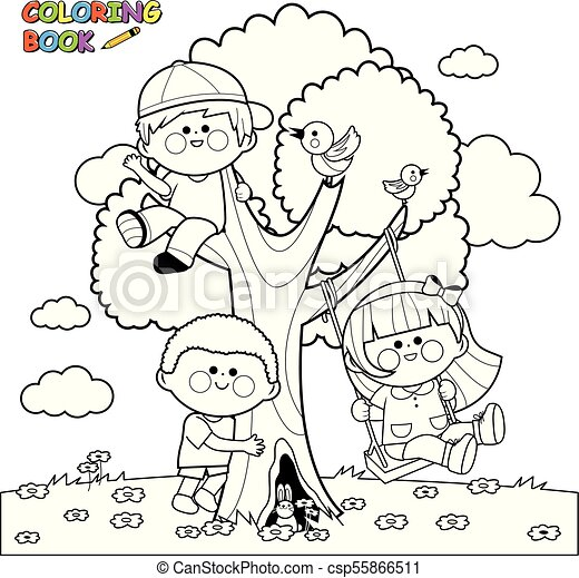 Children playing on a tree. coloring book page. Vector illustration ...